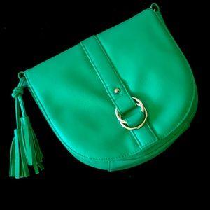 Green cross body purse with tassels